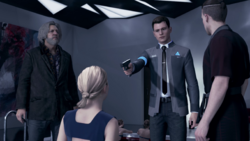 Hank, Connor, Kamski, Chloe, during meet Kamski