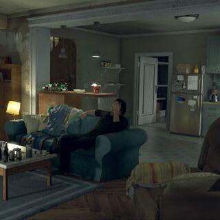 Todds Wohnzimmer mit Sicht auf die Küche
