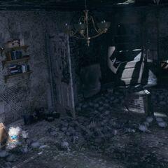 Ruperts Apartment mit Blick auf den alten Vogelkäfig und ein Regal