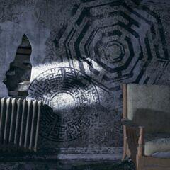 Ein Stuhl, der Wandschrank und das offengelegte Versteck