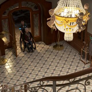 Der Eigangsbereich von der Treppe aus betrachtet