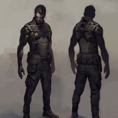 Концепт-арт Дженсена в боевой броне