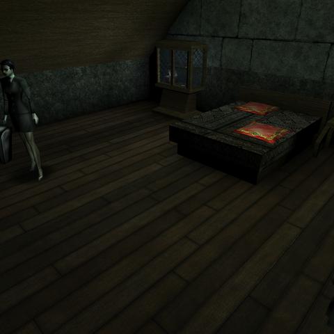 Адепт 34501 в своей комнате в соборе рыцарей тамплиеров