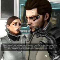 Адам убирает лизны во время разговора с доктором Рид второй раз за игру