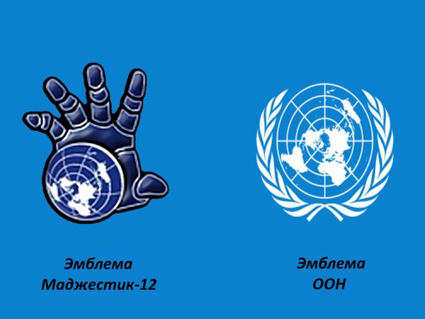 Карта земли на эмблемах Маджестик-12 и ООН