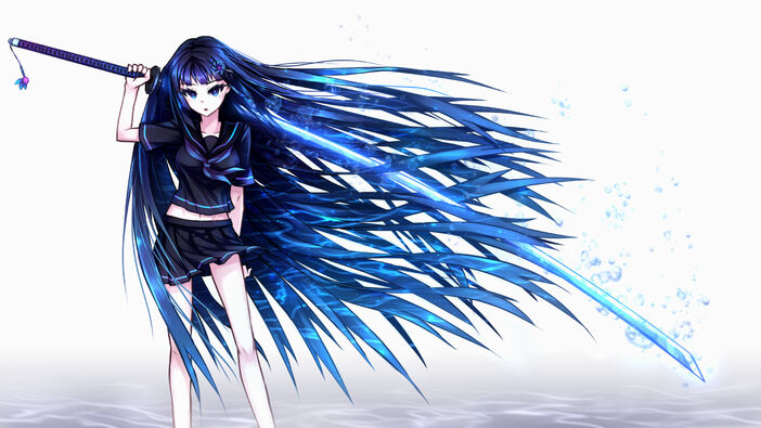 Original-Blue-Eyes-Hair-Bubbles-Katana-Long-Navel-Samael-Seifuku-Sword-Weapon-Wallpaper-Magazine