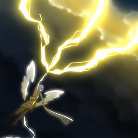 Azazel summoning lightning from the sky