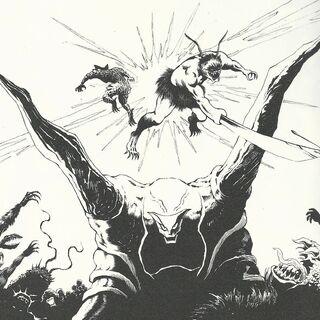 Kaim with Esunotto and Onemammac fighting overhead