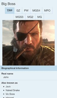8 tabs in an infobox on Metal Gear Wiki