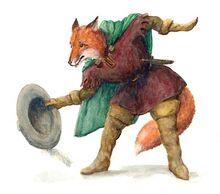 Reineke Fuchs aus einer Fabel sieht seinen Hut
