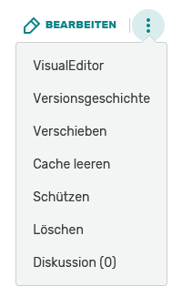 VE in edit dropdown