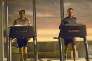 Dexter and Jordan on treadmills