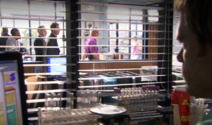 Farrow, assistant, attorney watched by Dexter