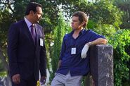 Miguel and Dexter in the cemetery