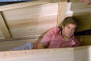 Dexter in a coffin made by Arthur
