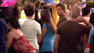 Dexter stalks Trinity in an arcade