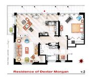 Floor plan for Dexter's apartment