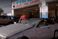 Debra's wrecked car