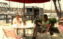 Dexter and Deb on patio S2E5