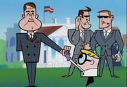 Dexter high-fiving the president
