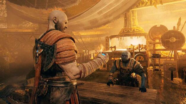 Brok gives Kratos a stone to let him travel between realms