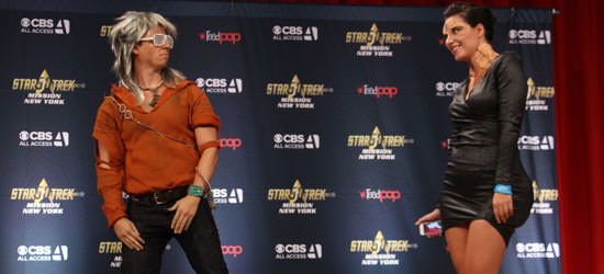 Cosplayers on stage at the New York Star Trek Convention show up their Khan-ye West and Kim Cardassian costumes. Visual puns.