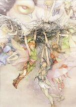 Fairies saving mother dove