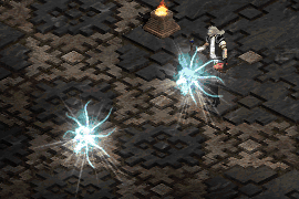 a necromancer with a demon head equipped, casting Bone Spirits in quick succession