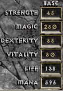 D1 sorceror max stats