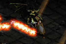 a barbarian with a tower shield equipped, blocking attacks from enemies afflicted by Slow Missiles