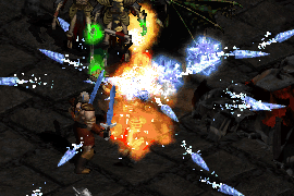 a barbarian dual wielding phase blades, having cast two Frozen Orbs from a Double Swing