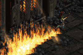 a sorceress wearing light plate and running with a Blaze behind her