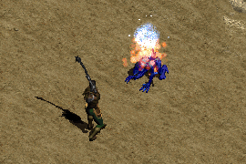a paladin wielding a flail to inflict cold damage and crushing blow on a cave leaper