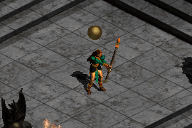 a sorceress wielding a battle staff and casting Energy Shield
