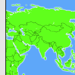 Basic Map of the whole Asian continent with a glow