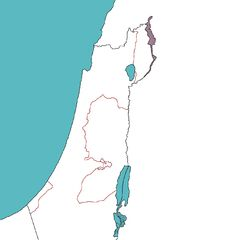 Border map of Israel and Palestine and immediate surrounding regions.