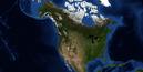 Curved North America Terrain Map