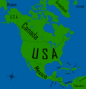 America Map WIth countries and Names
