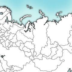 Blank map of Russia with federal subjects