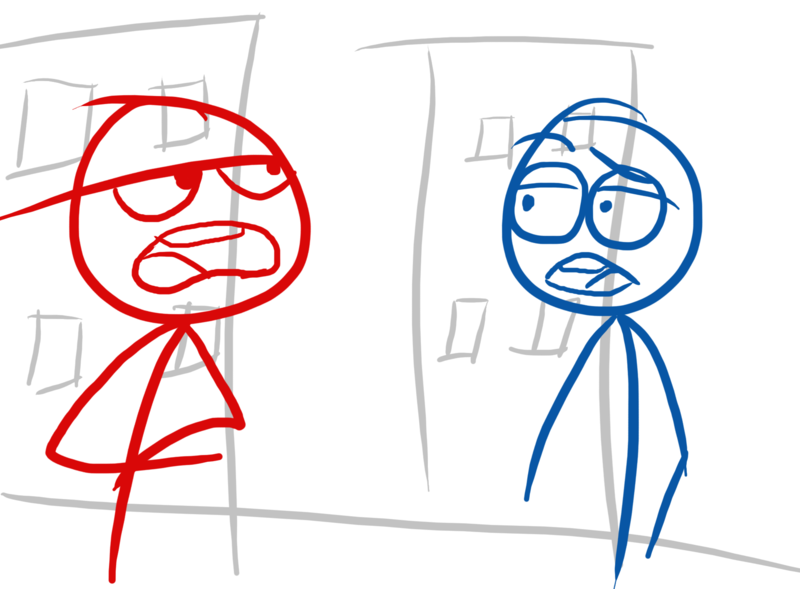 red and blue stick figures movie