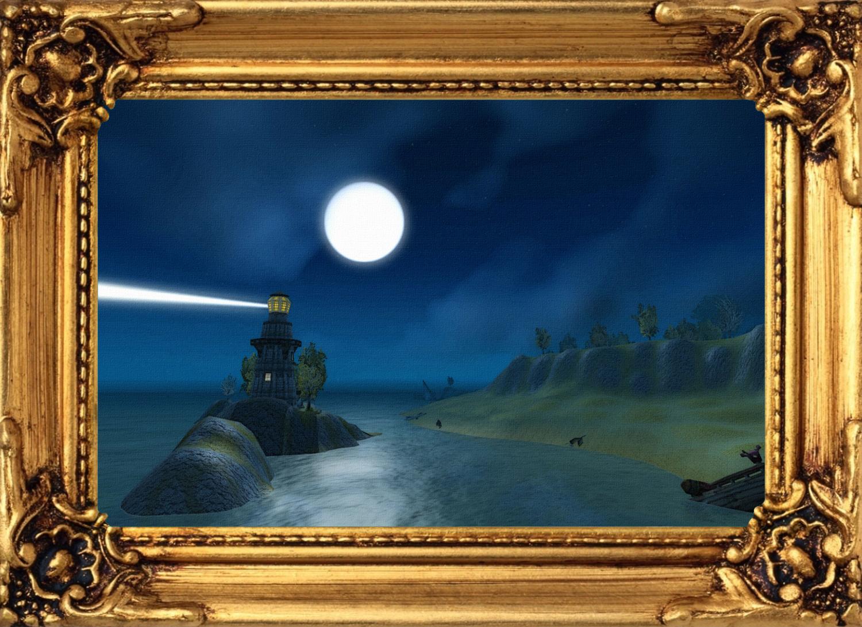 Bild - Gemälde - Leuchtturm in Westfall bei Nacht mit Rahmen.jpg ...