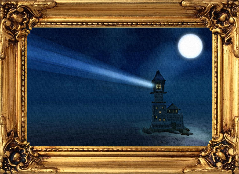 Bild - Gemälde - Leuchtturm in Sturmwind bei Nacht mit Rahmen.jpg ...
