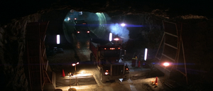 Truck convoy proceeds through Water Tunnel No. 3