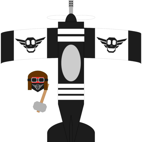 The Black Baron, next to his prized fighter, the <i>Aero Cephalo</i>.