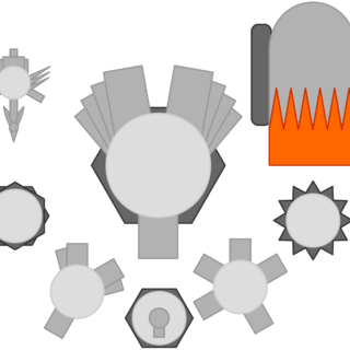 Left to right, first row: Advanced Grappling Hook, Grey Team Leader, Circus Cannon. Second row: Landmone, Spike. Third row: Booster, Auto Smasher, Fighter.