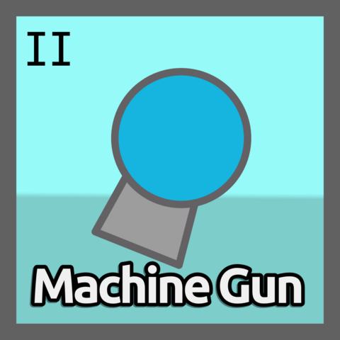 The Machine Gun II' upgrade icon.<br />Notice how the Machine Gun II's icon has a Blue Background, whereas the one from the original class is Red.