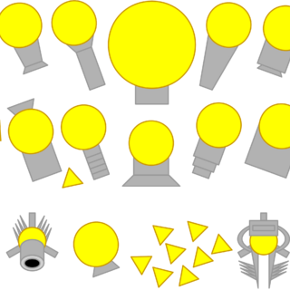Left to right, first row: Rocketeer, Ranger, Yellow Team Leader, Stalker, Skimmer. Second row: Hybrid and its Drones, Streamliner, Mega Trapper, Annihilator. Third row: Advanced Mortar, Manager and its Drones, Railgun.