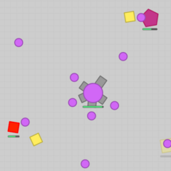 A Fighter on the Purple Team destroying polygons.