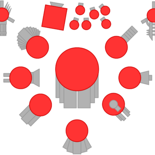 Left to right, first row: Advanced Gatling Turret, Factory and its minions, Laser. Second row: Spread Shot, Red Team Leader, Streamliner. Third row: Gunner Trapper, Sprayer. Fourth row: Triplet, Penta Shot, Auto Gunner.