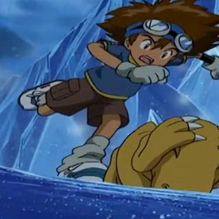Tai schießt Agumon auf Frigimons Rücken.